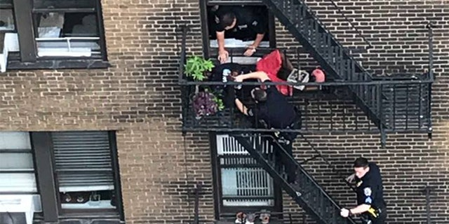 Police arrested one of the two men in the kidnapping and ransom plot Tuesday on a fire escape.