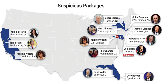 At least 13 suspicious packages have been recovered since Oct. 22, 2018.