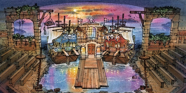 Pirates Voyage will feature a 21,000 square foot arena with full-sized ships in a 15-foot deep indoor lagoon.