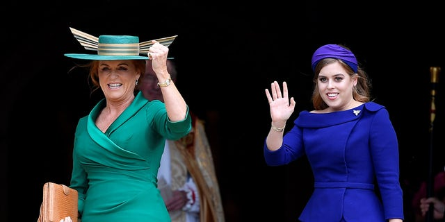 Sarah Ferguson, Duchess of York, and Princess Beatrice of York arrive for the royal wedding of Princess Eugenie and Jack Brooksbank at St George's Chapel in Windsor Castle, Windsor, Britain October 12, 2018.