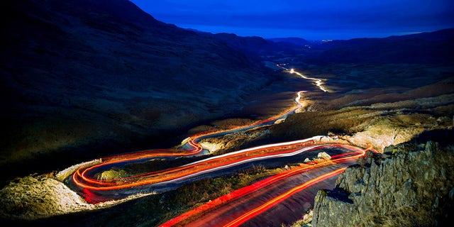 Hardknott Pass runs through Cumbria's Lake District.