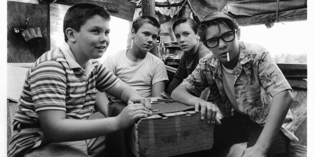 """River Phoenix, second from left, with the cast of the 1986 movie """"Stand By Me."""""""