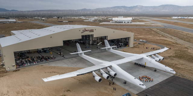 Stratolaunch, the world's largest airplane, seen in its hangar in the Mojave Desert.