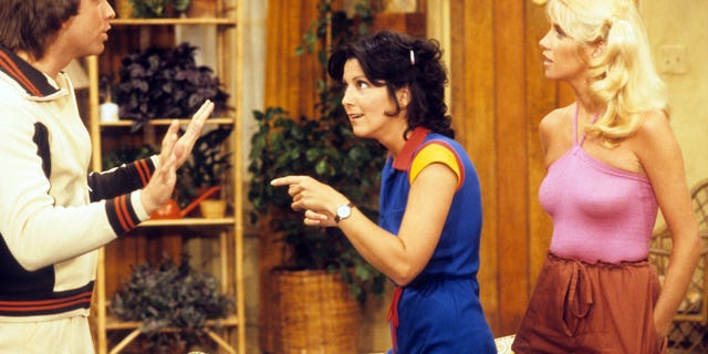 "A scene from from ""Three's Company"" featuring John Ritter, Joyce DeWitt and Suzanne Somers. Airdate: Sept. 19, 1978. (ABC Photo Archives/ABC via Getty Images)"