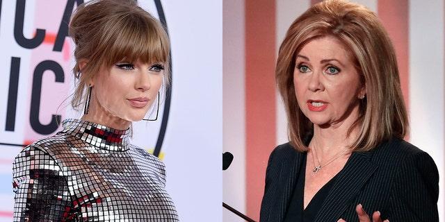 Taylor Swift, left, broke her silence on politics by speaking out against Marsha Blackburn.