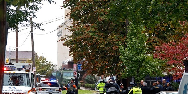 First responders were seen near the Tree of Life Synagogue in Pittsburgh, Pa., where a shooter opened fire Saturday, Oct. 27, 2018.