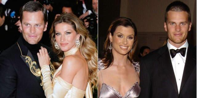 Tom Brady, photographed with wife Gisele Bundchen, left. He as previously in a relationship with Bridget Moynahan, right.