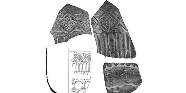 Roman cut-glass vessel or bowl. Photographs of some of the surviving fragments of the spectacular cut-glass vessel, with an inset showing a reconstruction drawing of the bowl by Yvonne Beadnell. (Crown copyright: Royal Commission on the Ancient and Historical Monuments of Wales [RCAHMW])