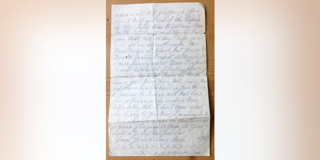 The pencil written letter dated February 27, 1918 written by Christine Spall's late husband's grandfather is thought to have been passed down through his family. (Credit: SWNS)