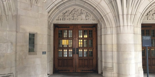 The entrance to the Yale Law School building was spray-painted with quotes from Christine Blasey Ford's testimony against U.S. Supreme Court Justice Brett Kavanaugh.