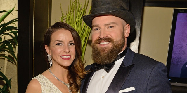 "Recording artist Zac Brown, right and his wife Shelly Brown pose backstage during ""Sinatra 100: An All-Star GRAMMY Concert"" celebrating the late Frank Sinatra's 100th birthday at the Encore Theater at Wynn Las Vegas on December 2, 2015 in Las Vegas, Nevada."