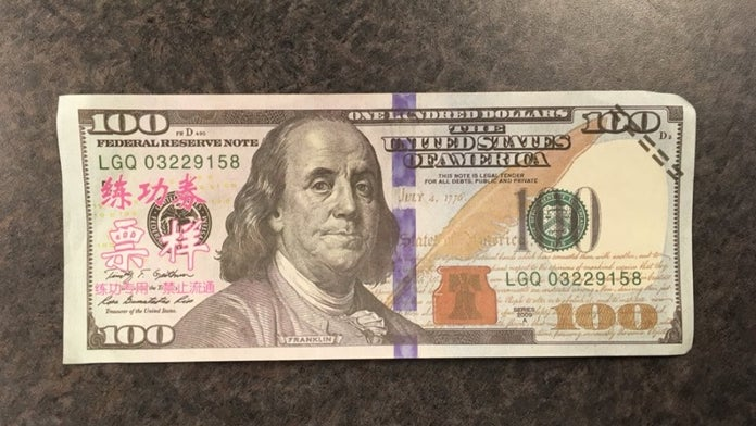 Woman Tried To Pass Off Fake 100 Bills With Pink Chinese Lettering Written On Them Police Fox News