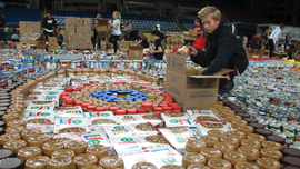 Student-led holiday food drive continues to fill Fargodome