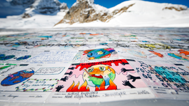 Kids' postcards blanket Alpine glacier in eco-friendly stunt