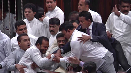 Sri Lankan lawmakers fight in Parliament over PM dispute