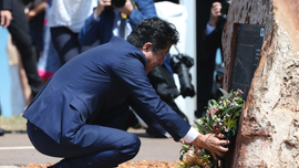 Abe visits Darwin shrine to Japanese war dead