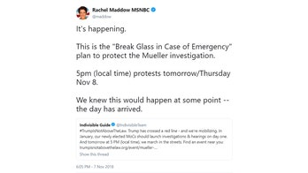 MSNBC election night anchor Rachel Maddow promotes pro-Mueller street protests
