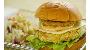 Vegetable Burger with Fried Green Tomatoes and Creole Remoulade