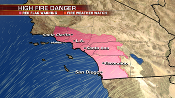 Fire conditions in Southern California remain extreme; snow develops across East