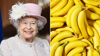Queen Elizabeth eats bananas with a fork and knife