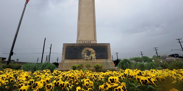 FILE - In this May 7, 2014 file photo, the World War I memorial cross is pictured in Bladensburg, Md. (Algerina Perna /The Baltimore Sun via AP, File)