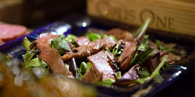 A Japanese Wagyu beef salad rounds out the decadent meal.