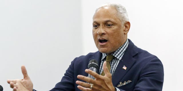 Mike Espy who is seeking to unseat appointed U.S. Sen. Cindy Hyde-Smith, R-Miss., and serve the last two years of the six-year term vacated when Republican Thad Cochran retired for health reasons, speaks before the leadership of Working Together Jackson during their luncheon and accountability session, Wednesday, Nov. 14, 2018 in Jackson, Miss.