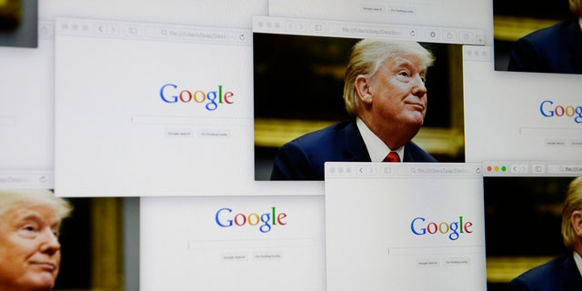 Google logos are seen in this photo illustration together with images of Donald Trump.
