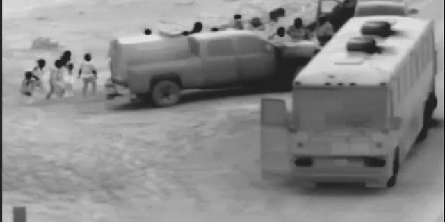 A large group of illegal immigrants is observed moving to the U.S. border near Yuma, Arizona where they crossed into the country illegally before being apprehended. (U.S. Customs and Border Protection)