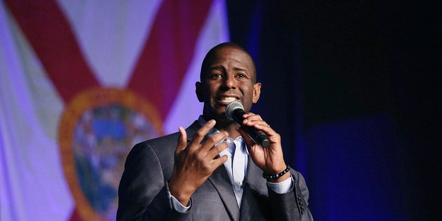 Florida Democratic gubernatorial candidate Andrew Gillum speaks during a rally at CFE Arena on the campus of UCF in Orlando, Fla.