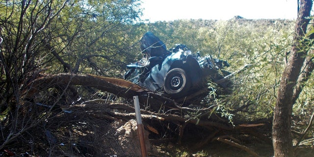 The scene where authorities say they rescued a seriously injured woman who spent six days in the desert after crashing her car near Wickenburg,Ariz., Oct. 18, 2018.