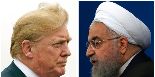 FILE: U.S. President Donald Trump, left, and Iranian President Hassan Rouhani.