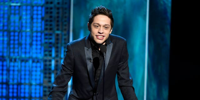 FILE: Pete Davidson speaks at a Comedy Central Roast at Sony Pictures Studios in Culver City, Calif.