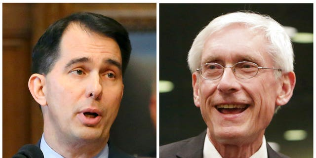 Former Wisconsin Gov. Scott Walker, left, a Republican, sent the state's National Guard troops to the southern border but his Democratic successor, Tony Evers, withdrew them. (Associated Press)