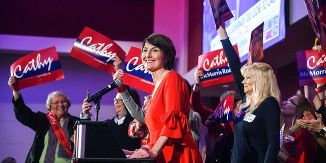 U. S Representative Cathy McMorris Rodgers takes the stage at the Davenport Grand Hotel after defeating Lisa Brown in the 5th District race, Tuesday, Nov. 6, 2018, at the Davenport Grand Hotel in Spokane, Wash. (Dan Pelle /The Spokesman-Review via AP)