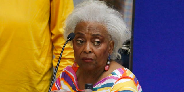 Brenda Snipes, Broward County supervisor of elections, speaks with officials before a canvasing board meeting Friday, Nov. 9, 2018, in Lauderhill, Fla. (AP Photo/Joe Skipper)