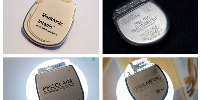 This combination of photos shows demonstration models of implantable neurostimulators, top row from left, the Medtronic Intellis and the Boston Scientific Spectra WaveWriter SCS. Bottom row from left are the Abbott/St. Jude's Proclaim 7 Implantable Pulse Generator and Proclaim DRG Implantable Pulse Generator.