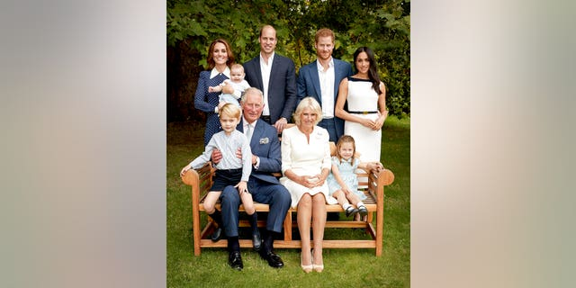 Britain's Prince Charles poses for an official portrait on Sept. 5, 2018, to mark his 70th birthday with Camilla, Duchess of Cornwall, Prince William, Kate, Duchess of Cambridge, Prince George, Princess Charlotte, Prince Louis, Prince Harry and Meghan, Duchess of Sussex, in London, England. (Chris Jackson/Pool Photo)