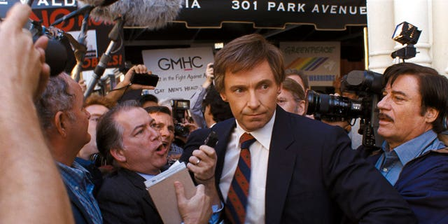 "FILE: This file image released by Sony Pictures shows Hugh Jackman in a scene from ""The Front Runner."""