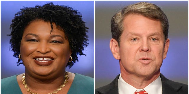 Stacey Abrams, left, and Brian Kempare seen in separate photos taken May 20, 2018. (Associated Press)