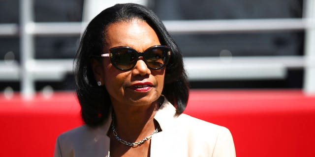 Sept. 16, 2018: Former Secretary of State Condoleezza Rice stands on the sidelines before the start of an NFL football game between the San Francisco 49ers and the Detroit Lions in Santa Clara, Calif. (AP Photo/Ben Margot)