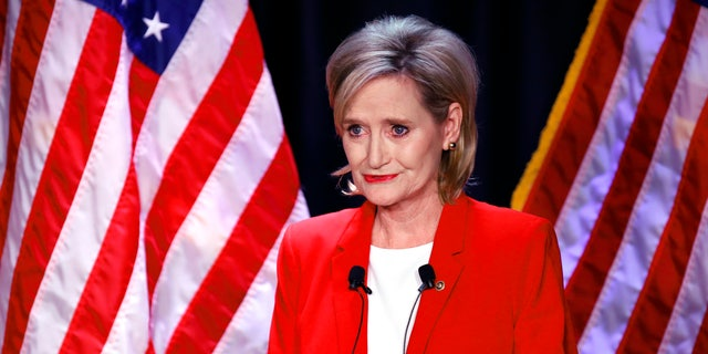 Appointed U.S. Sen. Cindy Hyde-Smith, R-Miss., answers a question during a televised Mississippi Senate debate with Democrat Mike Espy.
