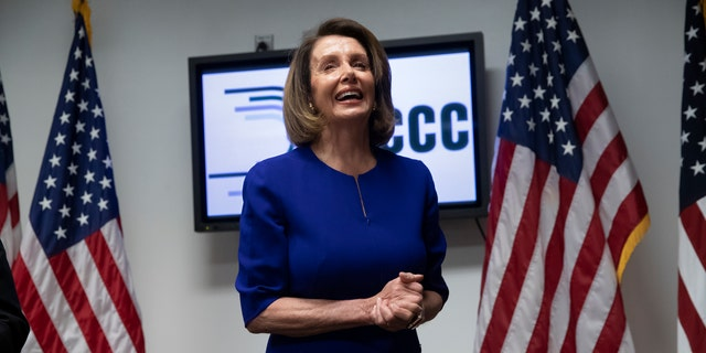 Democratic Rep. Nancy Pelosi of California became the first female House Speaker when she was elected in 2007.
