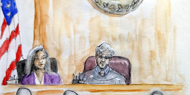 In this courtroom sketch Judge Richard Moore, top right, presides over the trial of James Alex Fields Jr. during the second day of jury selection in Charlottesville General District Court in Charlottesville, Va., Tuesday, Nov. 27, 2018. Fields is accused of killing a woman during a white nationalist rally in Virginia last year. (Izabel Zermani via AP)