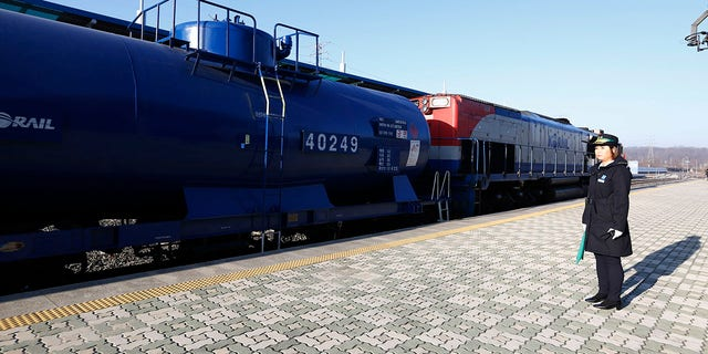 A South Korea train is prepared to travel across the border into North Korea at the Dorasan Station in Paju, South Korea, Friday, Nov. 30, 2018. (Jeon Heon-kyun/Pool Photo via AP)