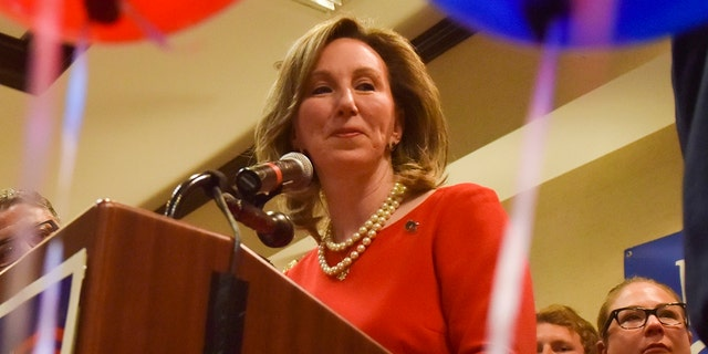 Incumbent Rep. Barbara Comstock delivers her concession speech after being defeated by Democratic state Sen. Jennifer Wexton. (Jahi Chikwendiu/The Washington Post via AP)