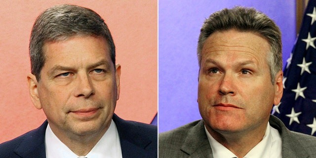 Democrat Mark Begich (left) faces Republican Mike Dunleavy in Alaska's gubernatorial race.