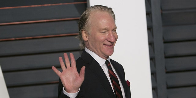Bill Maher arrives at an Oscar party, Feb. 22, 2015, in Beverly Hills, Calif.<br>