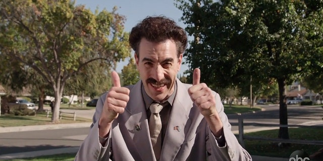 """Borat, the popular TV and film character portrayed by Sacha Baron Cohen, made an appearance in a Southern California neighborhood to talk politics and the midterm elections, as seen in a video that aired Tuesday on """"Jimmy Kimmel Live!"""""""