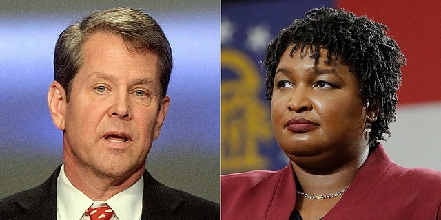 Republican Brian Kemp (left) faces Democrat Stacey Abrams in Georgia's gubernatorial race.